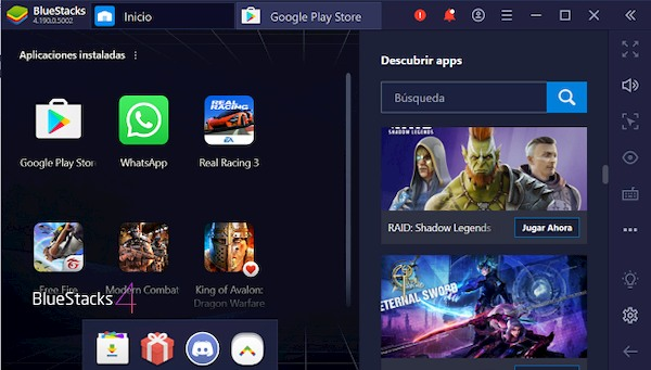 Interfaz de BlueStacks en Windows