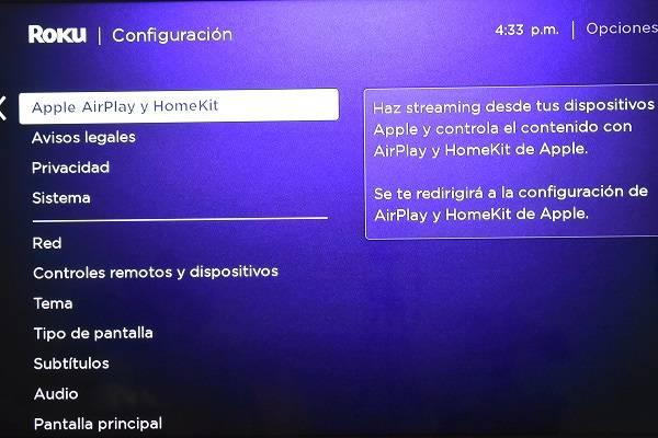 Opción de streaming iPhone en Roku